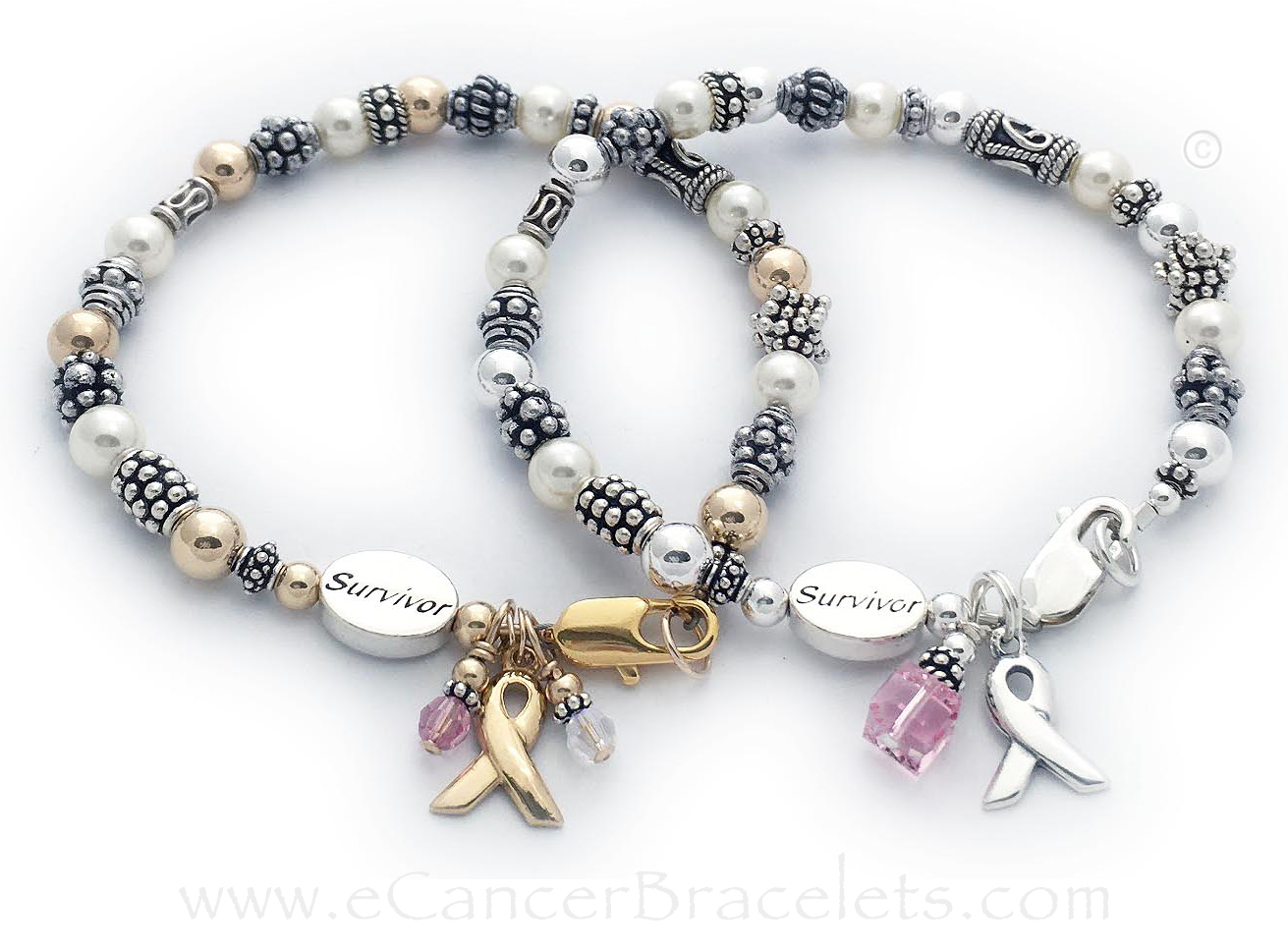 Gold & Sterling Silver Breast Cancer Survivor Bracelets   The Sterling Silver Breast Cancer Survivor Bracelet with a Pink Crystal Dangle and PLAIN Ribbon Charm (included in price). Shown with the simple silver lobster claw clasp and 1 add-on: Survivor Message Bead.  The Gold Breast Cancer Survivor bracelet shown was a special order... they switched out the 6mm square free crystal dangle for 2 - 4mm crystal dangles to signify lung cancer and breast cancer awareness (free exchange - call to order). They also add a Survivor Message Bead.